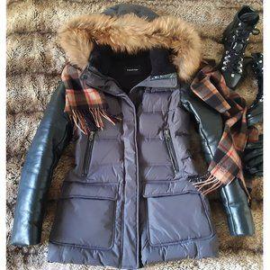 Mackage Orla Leather & Fur-Trim Down Coat in Gray & Black